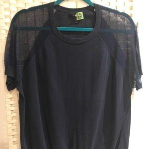 Jcrew blue short sleeve with mesh like sleeve